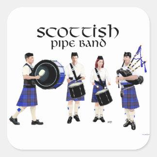Scottish Pipe Band - Blue Kilts Square Sticker
