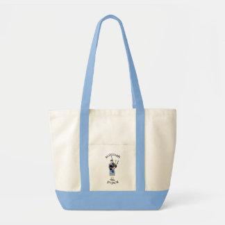 Scottish Piper - Blue Tote Bags