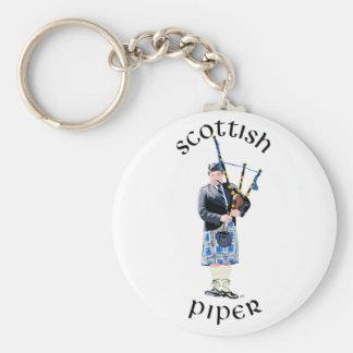 Scottish Piper - Blue Basic Round Button Keychain