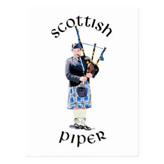 Scottish Piper - Blue Postcard