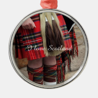 Scottish piper close up, traditional Scottish gift Round Metal Christmas Ornament