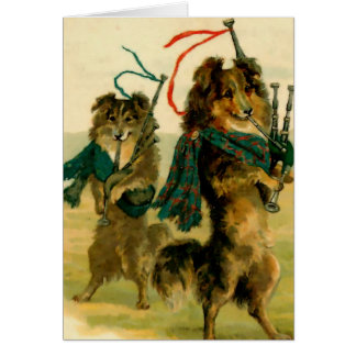 Scottish Piper Dogs Card