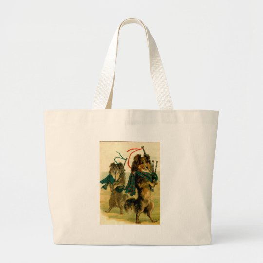 Scottish Piper Dogs Large Tote Bag