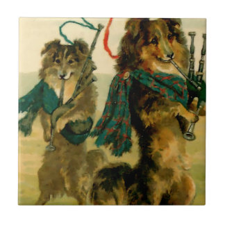 Scottish Piper Dogs Tile