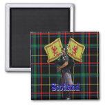 Scottish piper on tartan 2 inch square magnet
