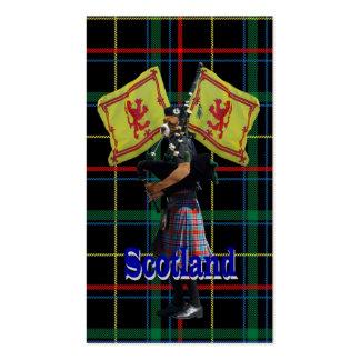 Scottish piper on tartan business card