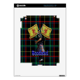 Scottish piper on tartan decals for the iPad 2