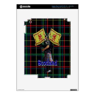 Scottish piper on tartan iPad 3 skins