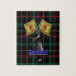 Scottish piper on tartan jigsaw puzzle