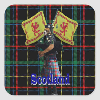 Scottish piper on tartan square sticker