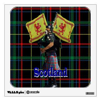 Scottish piper on tartan wall sticker