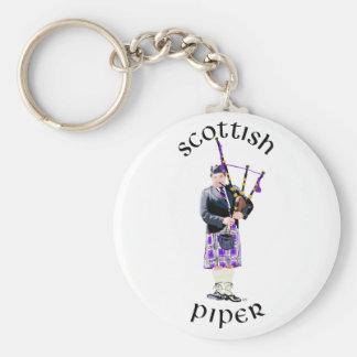 Scottish Piper - Purple Basic Round Button Keychain
