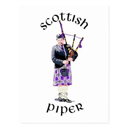 Scottish Piper - Purple Post Cards