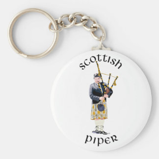 Scottish Piper - Tan Kilt Basic Round Button Keychain