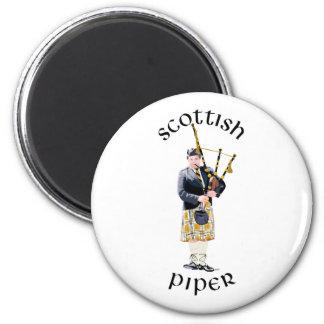 Scottish Piper - Tan Kilt Refrigerator Magnet