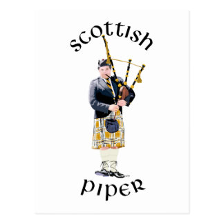 Scottish Piper - Tan Kilt Postcard