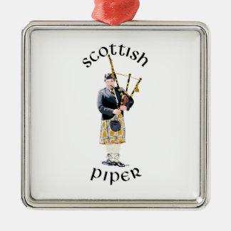 Scottish Piper - Tan Plaid Metal Ornament