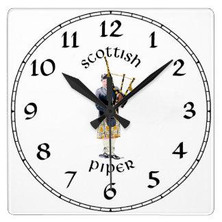 Scottish Piper - Tan Plaid Square Wall Clock