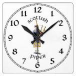 Scottish Piper - Tan Plaid Wall Clocks
