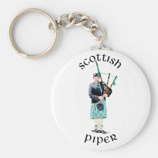 Scottish Piper - Turquoise Basic Round Button Keychain