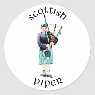 Scottish Piper - Turquoise Classic Round Sticker