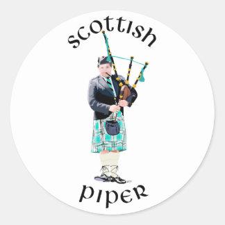 Scottish Piper - Turquoise Round Stickers