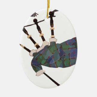scottish plaid bagpipes ceramic ornament