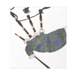 scottish plaid bagpipes notepad