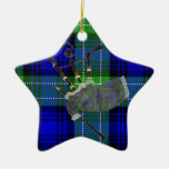 Scottish plaid bagpipes Double-Sided star ceramic christmas ornament