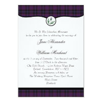 Scottish Purple Tartan Plaid & Thistle Wedding Invitation