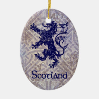 Scottish Rampant Lion Navy Blue Celtic Knot Ceramic Ornament