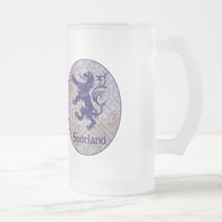 Scottish Rampant Lion Navy Blue Celtic Knot Frosted Glass Beer Mug