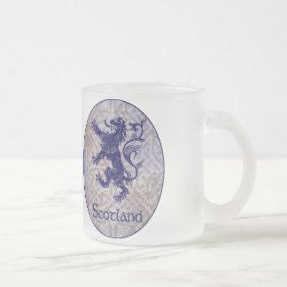 Scottish Rampant Lion Navy Blue Celtic Knot Frosted Glass Coffee Mug
