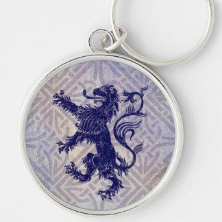Scottish Rampant Lion Navy Blue Celtic Knot Keychain