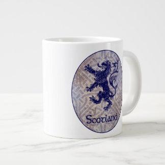 Scottish Rampant Lion Navy Blue Celtic Knot Large Coffee Mug