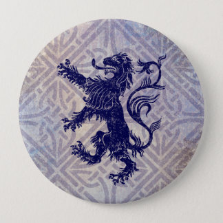 Scottish Rampant Lion Navy Blue Celtic Knot Pinback Button