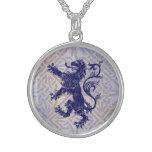 Scottish Rampant Lion Navy Blue Celtic Knot Sterling Silver Necklace