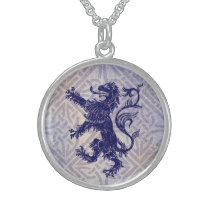 Scottish Rampant Lion Navy Blue Celtic Knot