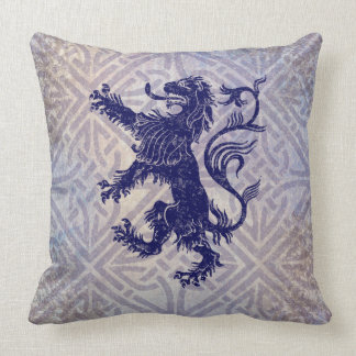 Scottish Rampant Lion Navy Blue Celtic Knot Throw Pillow