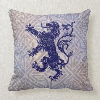 Scottish Rampant Lion Navy Blue Celtic Knot Throw Pillow