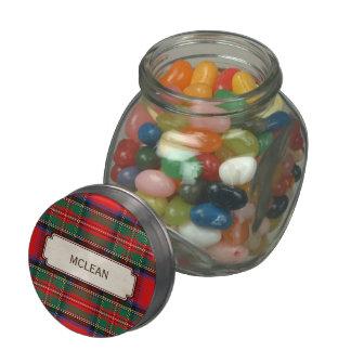 Scottish Red Clan Plaid Tartan Glass Candy Jars