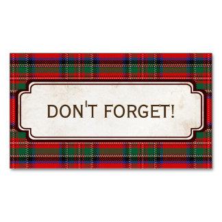 Scottish Red Clan Plaid Tartan Magnetic Business Card
