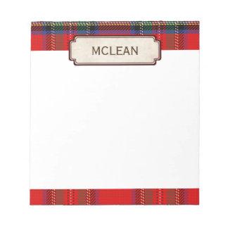 Scottish Red Clan Plaid Tartan Note Pad