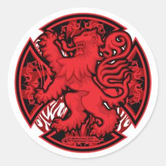 Scottish Red Lion Cross Classic Round Sticker