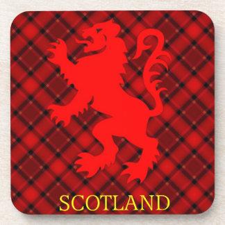 Scottish Red Lion Rampant on Tartan Beverage Coaster