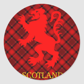 Scottish Red Lion Rampant on Tartan Classic Round Sticker