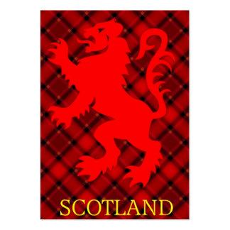 Scottish Red Lion Rampant on Tartan Large Business Card