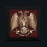 "Scottish Rite 32 degree Mason Double Eagle Red Jewelry Box<br><div class=""desc"">Scottish Rite 32 Degree Mason double headed Eagle, Masonic Freemasonry. Customize this! Customize this! Just click the ""Customize It"" button and You can easily change the size of the graphic, add your own words, names, events, reposition it, make it bigger, smaller, etc. And check out our other Zazzle products for...</div>"