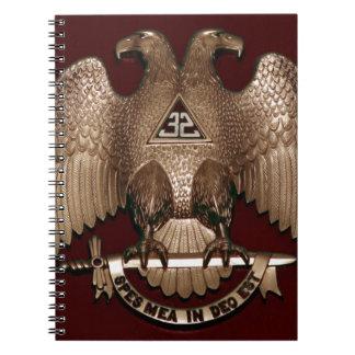 Scottish Rite 32 degree Mason Double Eagle Red Spiral Notebook
