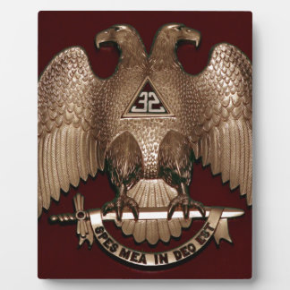 Scottish Rite 32 degree Mason Double Eagle Red Plaque